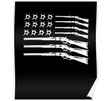 Gun and Bullet Hole American Flag Poster