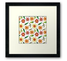 bright flowers and green leaves Framed Print
