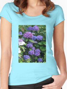 Blue Beauties - Hydrangea Blossoms Women's Fitted Scoop T-Shirt
