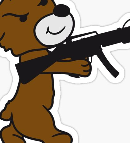 soldier machine gun shoot weapon war evil thug shoot target killer teddy bear Sticker