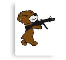 soldier machine gun shoot weapon war evil thug shoot target killer teddy bear Canvas Print