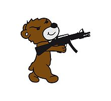 soldier machine gun shoot weapon war evil thug shoot target killer teddy bear Photographic Print
