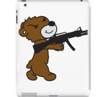 soldier machine gun shoot weapon war evil thug shoot target killer teddy bear iPad Case/Skin