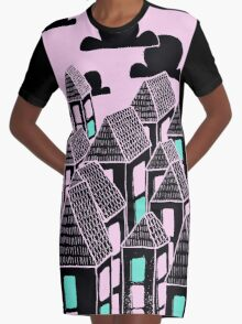 Pink city print Graphic T-Shirt Dress