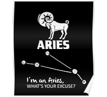 Aries Zodiac Quotes, Funny Saying Birthday Gift Poster
