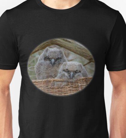 Great Horned Owlets in Wicker Basket Unisex T-Shirt