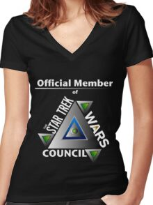Official Member of the Star Trek Wars Council Transparent Background Women's Fitted V-Neck T-Shirt