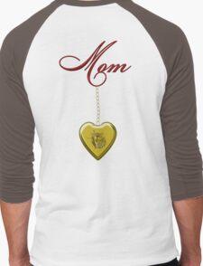 Golden Heart Locket with Mom Men's Baseball ¾ T-Shirt