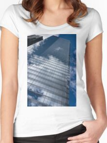 Reflected Sky - Skyscraper Geometry With Clouds - Right Women's Fitted Scoop T-Shirt