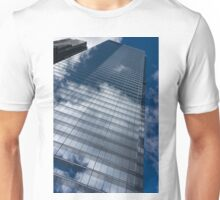 Reflected Sky - Skyscraper Geometry With Clouds - Right Unisex T-Shirt