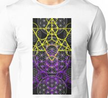 Purple Yellow Geometric flowers Unisex T-Shirt