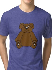 sitting cute little teddy thick sweet cuddly comic cartoon Tri-blend T-Shirt