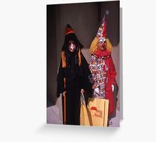 Found Photo Halloween Card - Witch & Clown Greeting Card