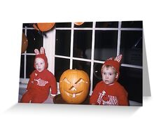 Found Photo Halloween Card - Red Bunnies Greeting Card