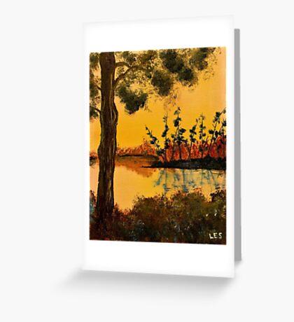 Bayou Sunset by Leslie Berg Greeting Card