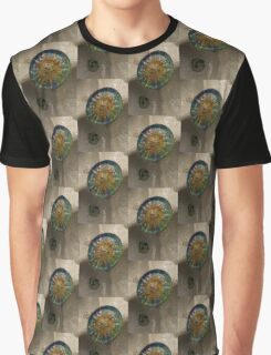 Stylized Sun - Antoni Gaudi's Ceiling Medallion at Hypostyle Room in Park Guell - Right Vertical Graphic T-Shirt