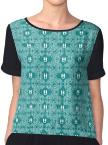 Teal n White Abstract Seahorse Sketch Chiffon Top