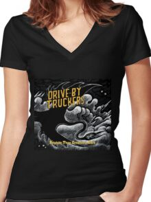 drive by truckers black wulan Women's Fitted V-Neck T-Shirt
