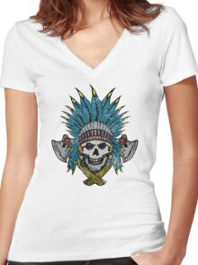 Indian Skull Head dress Women's Fitted V-Neck T-Shirt