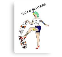 Hello Skaters Psychobilly Girl Pin Up Canvas Print