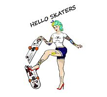 Hello Skaters Psychobilly Girl Pin Up Photographic Print