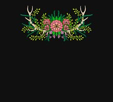 Antlers with Flowers #2 on black Unisex T-Shirt