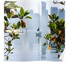 Yacht, Sunrise, East Balmain, Sydney, Australia Poster