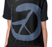Peace Symbol Calligraphy Chiffon Top