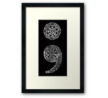 Patterned Semicolon: White on Black Framed Print