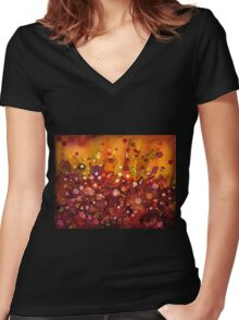 Spring Garden - abstract painting Women's Fitted V-Neck T-Shirt