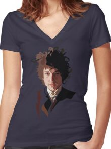 Bob Dylan Music Icon Women's Fitted V-Neck T-Shirt