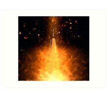 Digitally manipulated image of a spire of church with a crucifix  Art Print