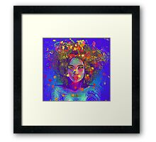 Earth Goddess Abstract art with colorful leaves. Framed Print