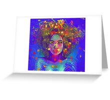 Earth Goddess Abstract art with colorful leaves. Greeting Card