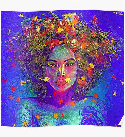 Earth Goddess Abstract art with colorful leaves. Poster