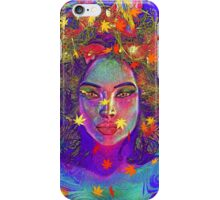 Earth Goddess Abstract art with colorful leaves. iPhone Case/Skin
