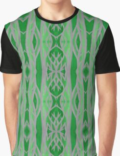 Grey and Green Tree Pattern Graphic T-Shirt