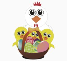 Funny chicken with a basket full of Easter eggs One Piece - Long Sleeve