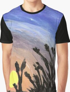 Sunset with Grass Graphic T-Shirt