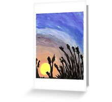 Sunset with Grass Greeting Card