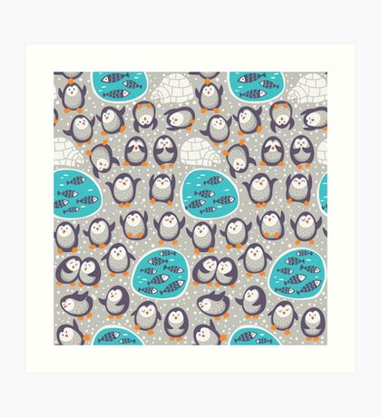 Winter penguins Art Print