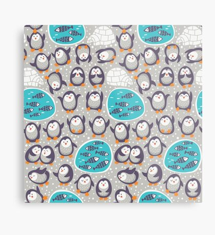 Winter penguins Metal Print