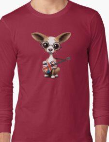 Cute Chihuahua Playing Union Jack British Flag Guitar Long Sleeve T-Shirt