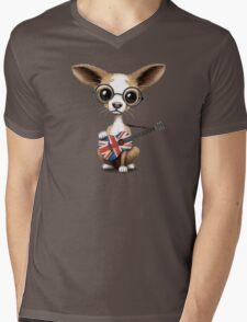 Cute Chihuahua Playing Union Jack British Flag Guitar Mens V-Neck T-Shirt