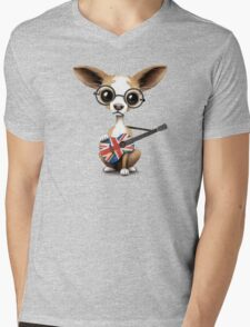 Cute Chihuahua Playing Union Jack British Flag Guitar Mens V-Neck T-Shirt