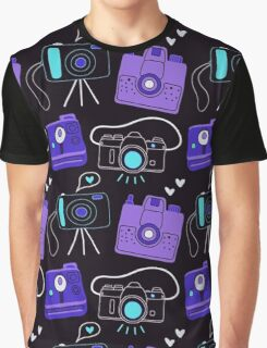 Purple & Blue Shutter Bug Retro Cameras  Graphic T-Shirt