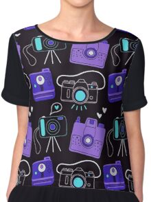 Purple & Blue Shutter Bug Retro Cameras  Chiffon Top