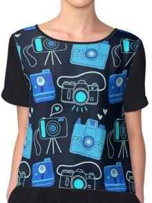 Black & Blue Shutter Bug Retro Cameras Chiffon Top
