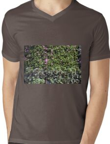 Green wall with pink flowers. Mens V-Neck T-Shirt