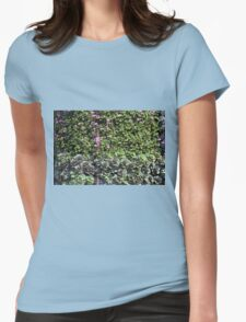 Green wall with pink flowers. Womens Fitted T-Shirt